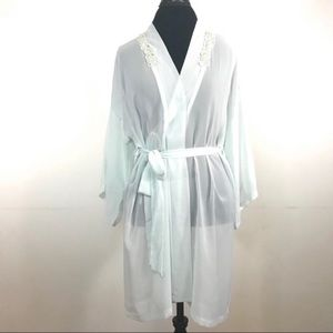 Vintage Sheer Robe with Lace and Beads